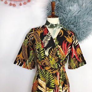 Vtg 70s Safari Novelty Print Kimono Maxi Jacket M